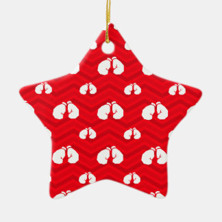 Scarlet Red, White, Chevron, Boxer, Boxing Gloves Ceramic Star Decoration