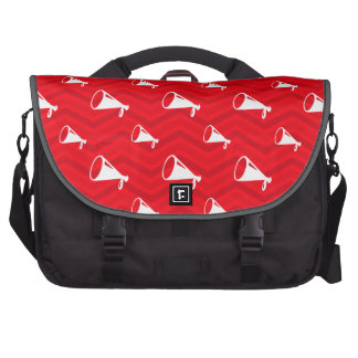 Scarlet Red, White, Chevron, Cheerleading Bags For Laptop