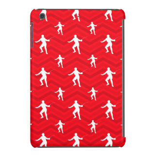 Scarlet Red, White, Chevron, Fencing iPad Mini Retina Covers
