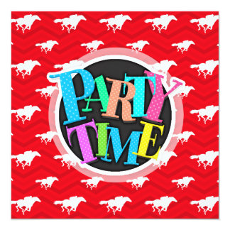 Scarlet Red, White, Chevron, Horse Racing Card