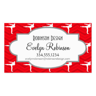 Scarlet Red, White, Chevron, Martial Arts, Karate Business Card Templates