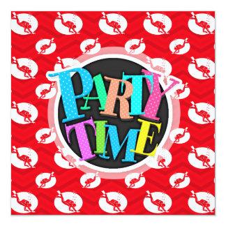 Scarlet Red, White, Chevron, Scuba Diving, Diver 13 Cm X 13 Cm Square Invitation Card