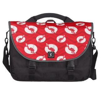 Scarlet Red, White, Chevron, Scuba Diving, Diver Laptop Messenger Bag