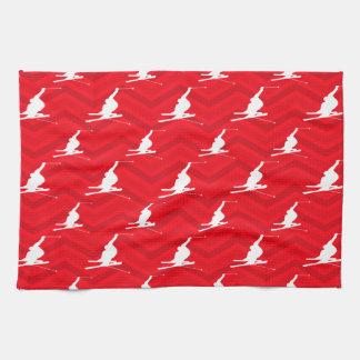 Scarlet Red, White, Chevron, Snow Ski Tea Towel