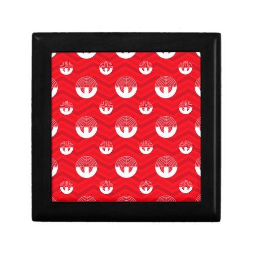 Scarlet Red, White, Chevron, Sport Shooting Keepsake Boxes