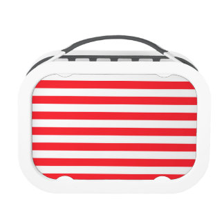 Scarlet Red White Stripes Striped Yubo Lunch Boxes