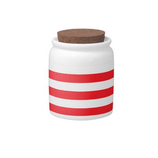 Scarlet Red & White Stripes; Striped Candy Jar