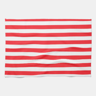 Scarlet Red White Stripes Striped Hand Towels