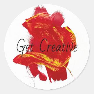 Scarlet Red Yellow Painterly Vivid Swipe Painting Classic Round Sticker