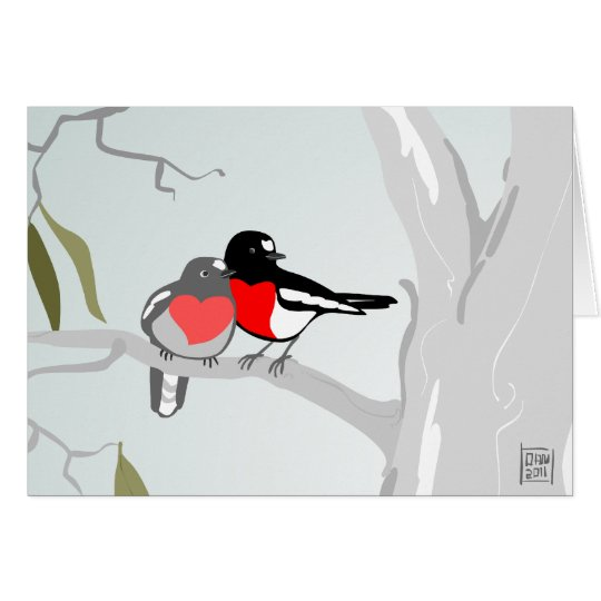 Scarlet Robins in Love Valentine's Day Card