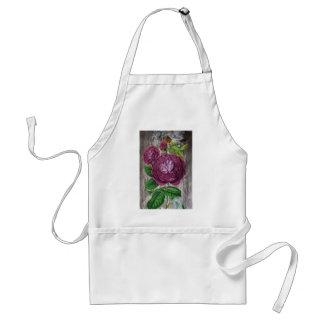 scarlet rose on wood standard apron