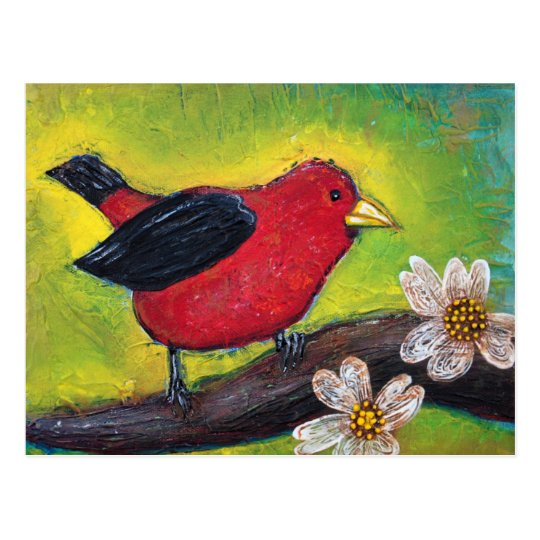 Scarlet Tanager Bird Postcard