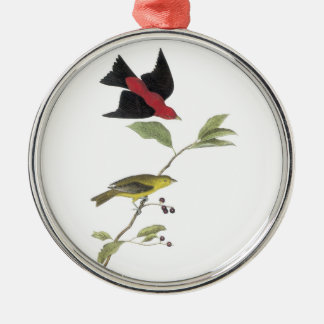 Scarlet Tanager by Audubon Silver-Colored Round Decoration
