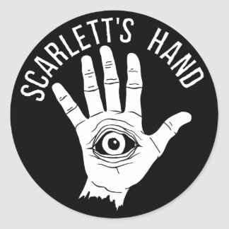 Scarlett's Hand Round Sticker Black