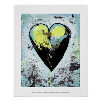 Scarred heart messy bold modern art healing poster