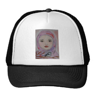 scarved girl with colorfull veil  bird mulicolor trucker hat