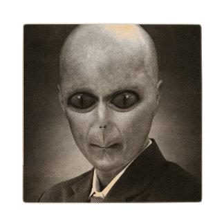 Scary alien portrait wood coaster