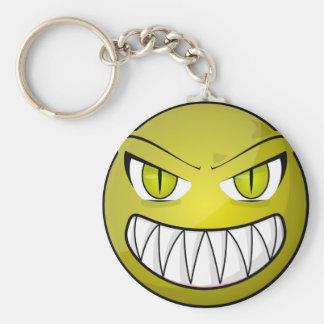 Scary Angry Green Cartoon Face Key Ring