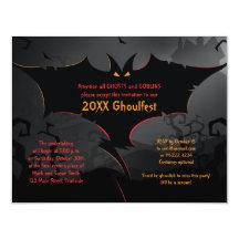 Scary Bat Halloween Party Invitation