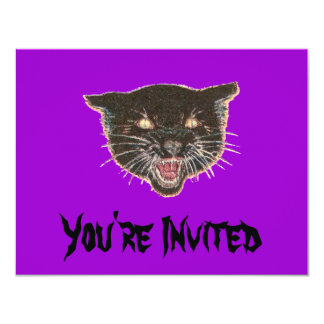 Scary Black Cat Face Invitations
