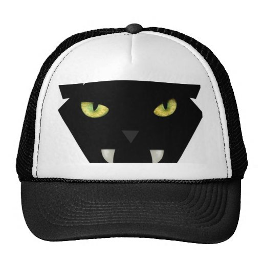 SCARY BLACK CAT FACE WITH GREEN EYES TRUCKER HAT