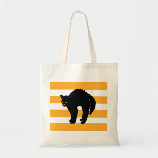 Scary Black Cat Halloween Tote Bag