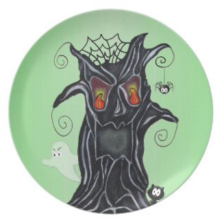 Scary Black Tree Face Ghost Cat Spider Halloween Plate
