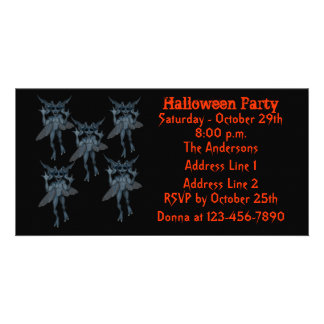 Scary Blue Gremlins Halloween Party Invite Personalized Photo Card