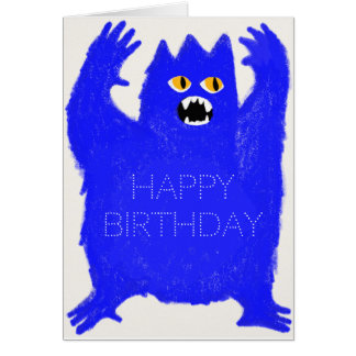 Scary Blue Monster Customisable Greeting Card