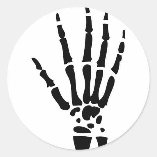 scary bone hand halloween classic round sticker