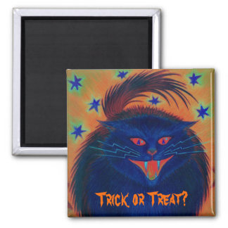 Scary Cat Blue 'Trick or Treat?' fridge magnet