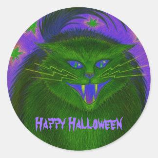 Scary Cat Green 'Happy Halloween' sticker