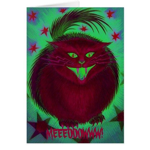 Scary Cat Red 'MEEEOOOWWW!' greetings card