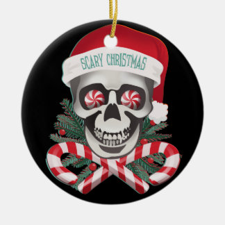 Scary Christmas Round Ceramic Decoration