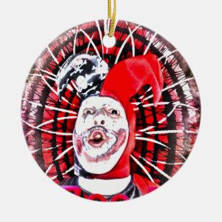 scary clown round ceramic decoration