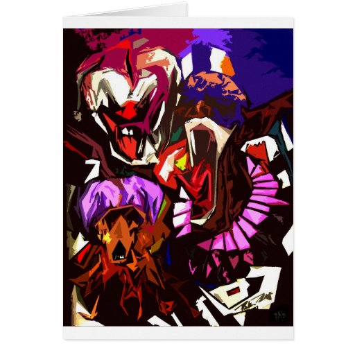 Scary Clowns Abstract Greeting Cards