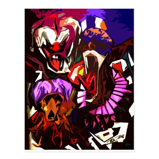 Scary Clowns Abstract Postcard