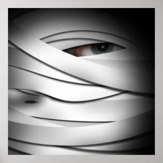 Scary Creepy One Eyed Halloween Mummy Poster