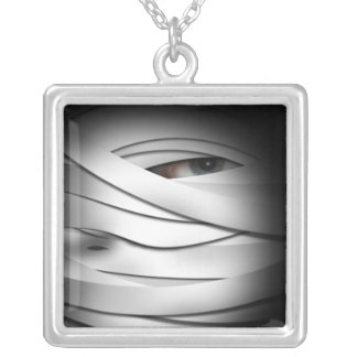 Scary Creepy One Eyed Halloween Mummy Silver Plated Necklace
