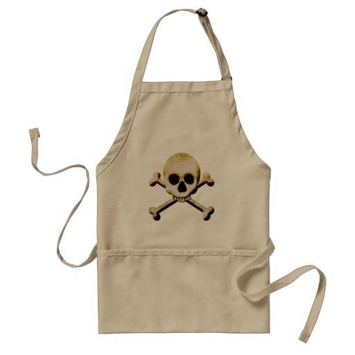 Scary Creepy Skull And Crossbones Black Halloween Aprons