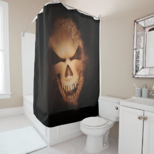 Scary Creepy Skull Halloween Shower Curtain