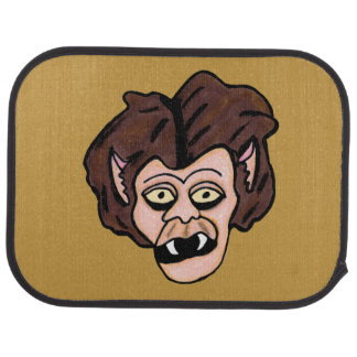 Scary Creepy Werewolf Head Fangs Cartoon Wolf Man Floor Mat