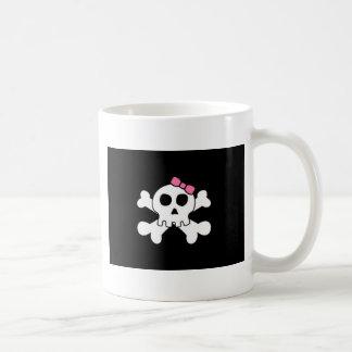 Scary cute Girly skull and cross bones Basic White Mug