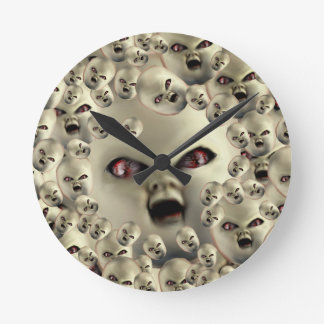 scary doll-face products dark art round clock