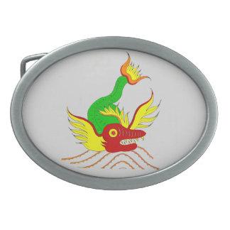scary dragon oval belt buckle