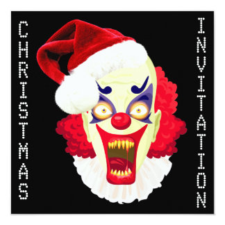 scary evil clown christmas party invitation