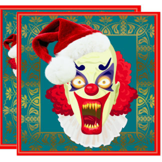 scary evil clown christmas party invitations