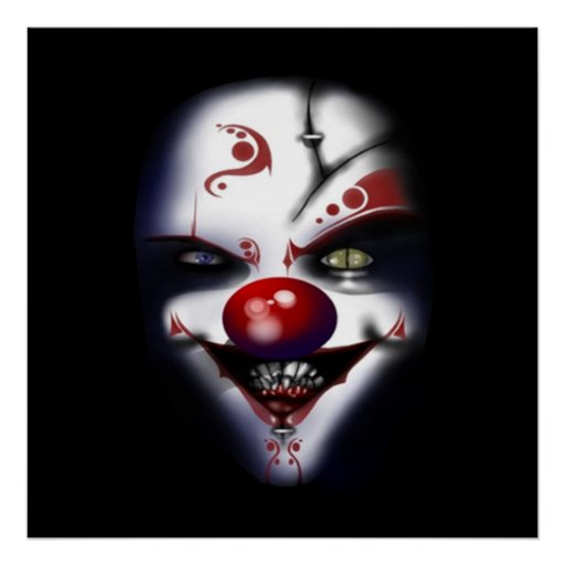 scary evil clown halloween party poster FROM 8.99
