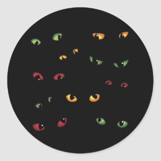 Scary Eyes Multi-Colored Round Sticker