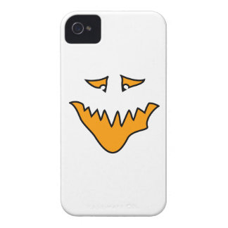 Scary Face. Monster Grin in Orange on White iPhone 4 Case-Mate Case